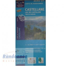Carte de randonnée TOP25 IGN 3542OT CASTELLANE