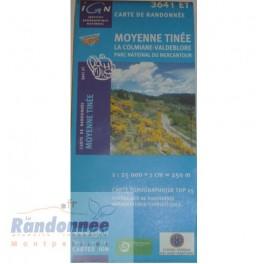 Carte de randonnée TOP25 IGN 3641ET MOYENNE TINEE PN du Mercantour