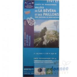 Carte de randonnée TOP25 IGN 3741ET VALLEE DE LA BAVERA PN du Mercantour