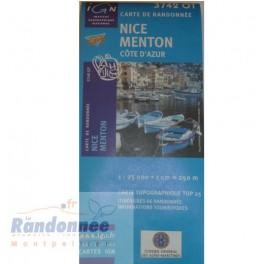 Carte de randonnée TOP25 IGN 3742OT NICE MENTON Côte d'Azur