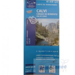 Carte de randonnée TOP25 IGN 4149OT CALVI