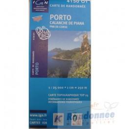Carte de randonnée TOP25 IGN 4150OT PORTO Calanques de Piarro