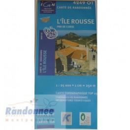 Carte de randonnée TOP25 IGN 4249OT L'ÎLE ROUSSE PNR de Corse