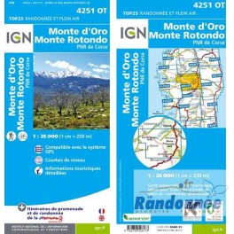 Carte de randonnée TOP25 IGN 4251OT MONTE D'ORO MONTE ROTONDO