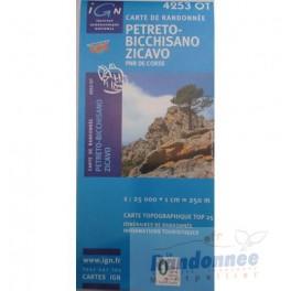 Carte de randonnée TOP25 IGN 4253OT PETRETO BICCHISANO