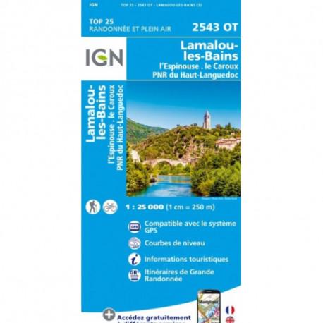Carte de randonnée TOP25 IGN 2543OT ST-GERVAIS-SUR-MARE Lamalou
