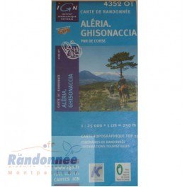 Carte de randonnée TOP25 IGN 4352OT ALERIA GHISONACIA