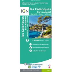 CARTE DE LOISIRS DE PLEIN AIR LES CALANQUES de Marseille à Cassis