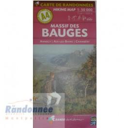 CARTE DE RANDONNEE ALPES A4 MASSIF DES BAUGES Annecy Aix-les-Bains Chambéry