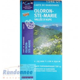 Carte de randonnée TOP25 IGN 1546OT OLORON-STE-MARIE Vallée d'Aspe